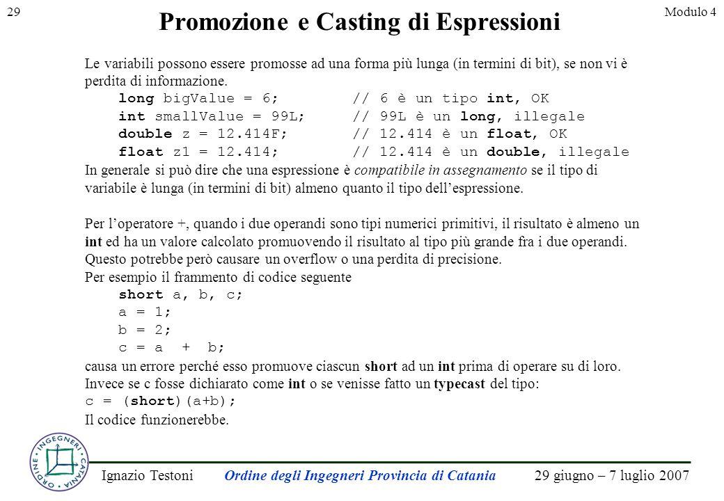 29 giugno – 7 luglio 2007Ignazio TestoniOrdine degli Ingegneri Provincia di Catania 29Modulo 4 Promozione e Casting di Espressioni Le variabili possono essere promosse ad una forma più lunga (in termini di bit), se non vi è perdita di informazione.