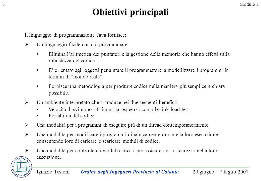 29 giugno – 7 luglio 2007Ignazio TestoniOrdine degli Ingegneri Provincia di Catania 3Modulo 1 Obiettivi principali Il linguaggio di programmazione Java fornisce: Un linguaggio facile con cui programmare.