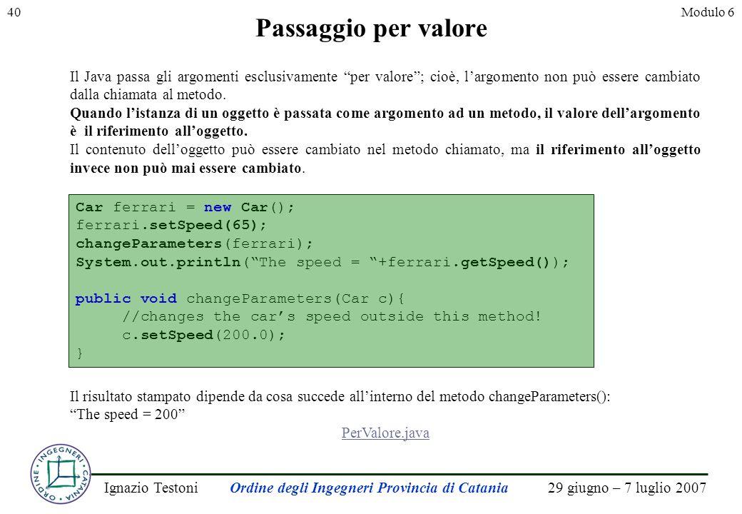 29 giugno – 7 luglio 2007Ignazio TestoniOrdine degli Ingegneri Provincia di Catania 40Modulo 6 Passaggio per valore Il Java passa gli argomenti esclusivamente per valore; cioè, largomento non può essere cambiato dalla chiamata al metodo.