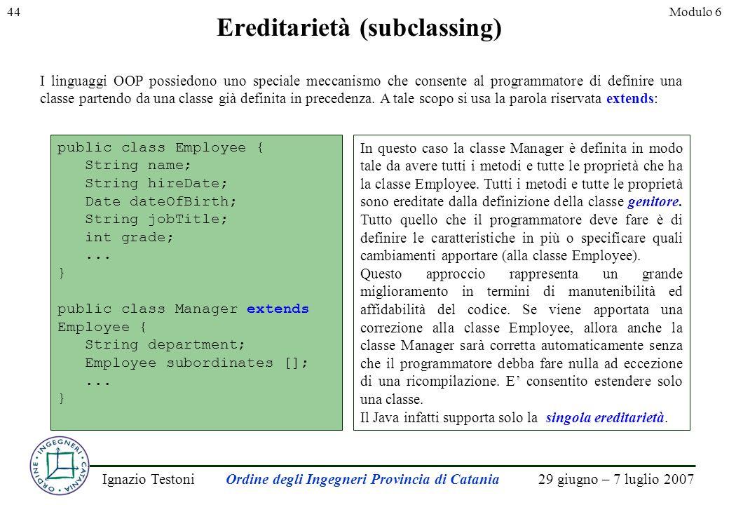 29 giugno – 7 luglio 2007Ignazio TestoniOrdine degli Ingegneri Provincia di Catania 44Modulo 6 Ereditarietà (subclassing) I linguaggi OOP possiedono uno speciale meccanismo che consente al programmatore di definire una classe partendo da una classe già definita in precedenza.