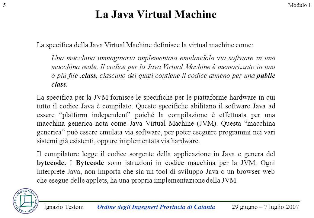 29 giugno – 7 luglio 2007Ignazio TestoniOrdine degli Ingegneri Provincia di Catania 5Modulo 1 La Java Virtual Machine La specifica della Java Virtual Machine definisce la virtual machine come: Una macchina immaginaria implementata emulandola via software in una macchina reale.