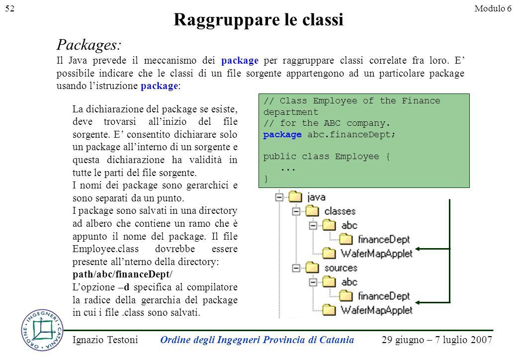29 giugno – 7 luglio 2007Ignazio TestoniOrdine degli Ingegneri Provincia di Catania 52Modulo 6 Raggruppare le classi Packages: Il Java prevede il meccanismo dei package per raggruppare classi correlate fra loro.
