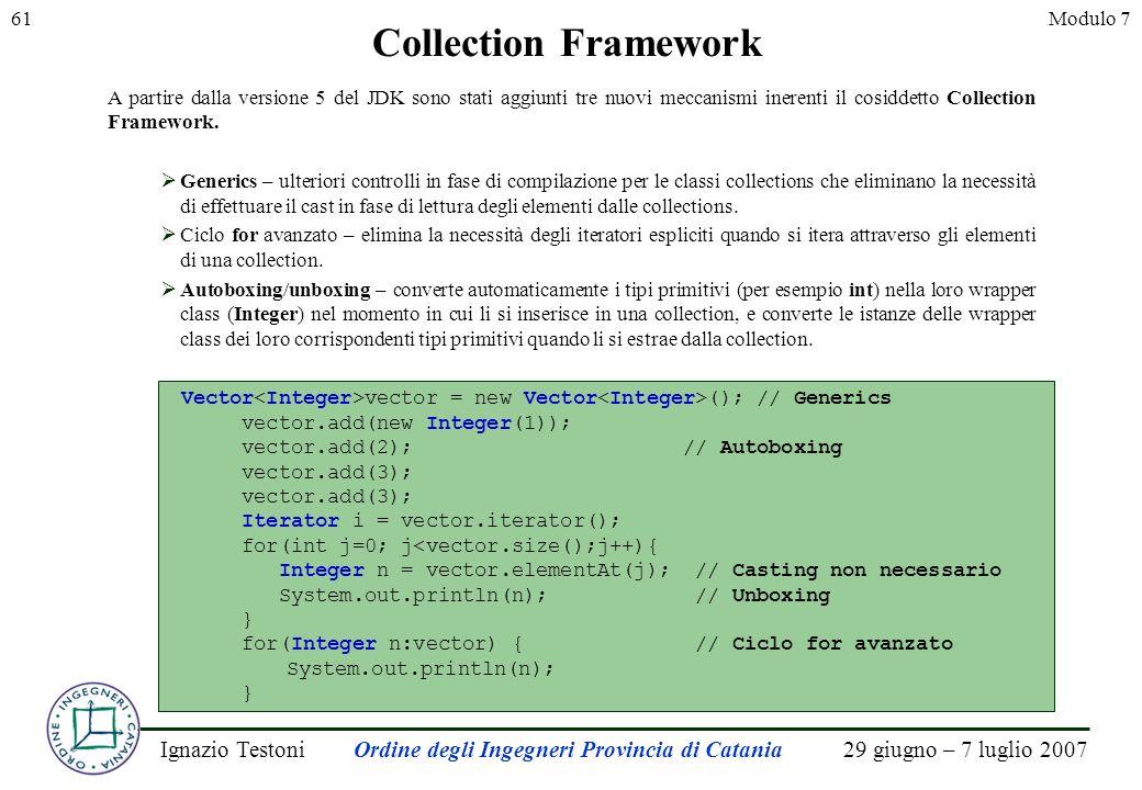 29 giugno – 7 luglio 2007Ignazio TestoniOrdine degli Ingegneri Provincia di Catania 61Modulo 7 Collection Framework Vector vector = new Vector (); //