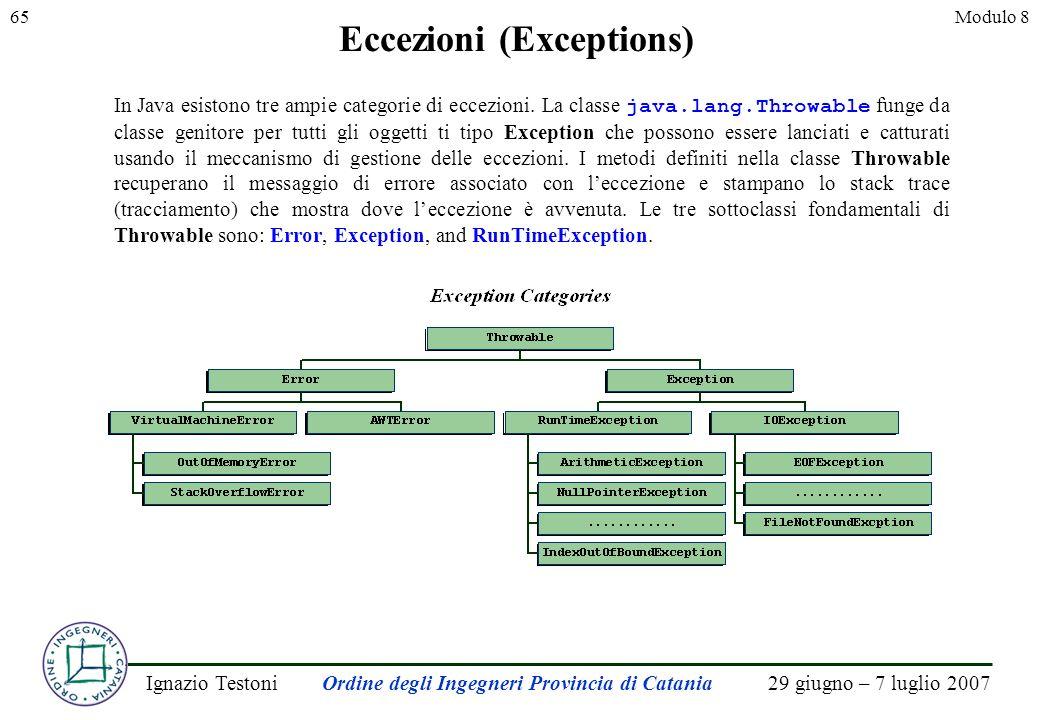 29 giugno – 7 luglio 2007Ignazio TestoniOrdine degli Ingegneri Provincia di Catania 65Modulo 8 Eccezioni (Exceptions) In Java esistono tre ampie categorie di eccezioni.