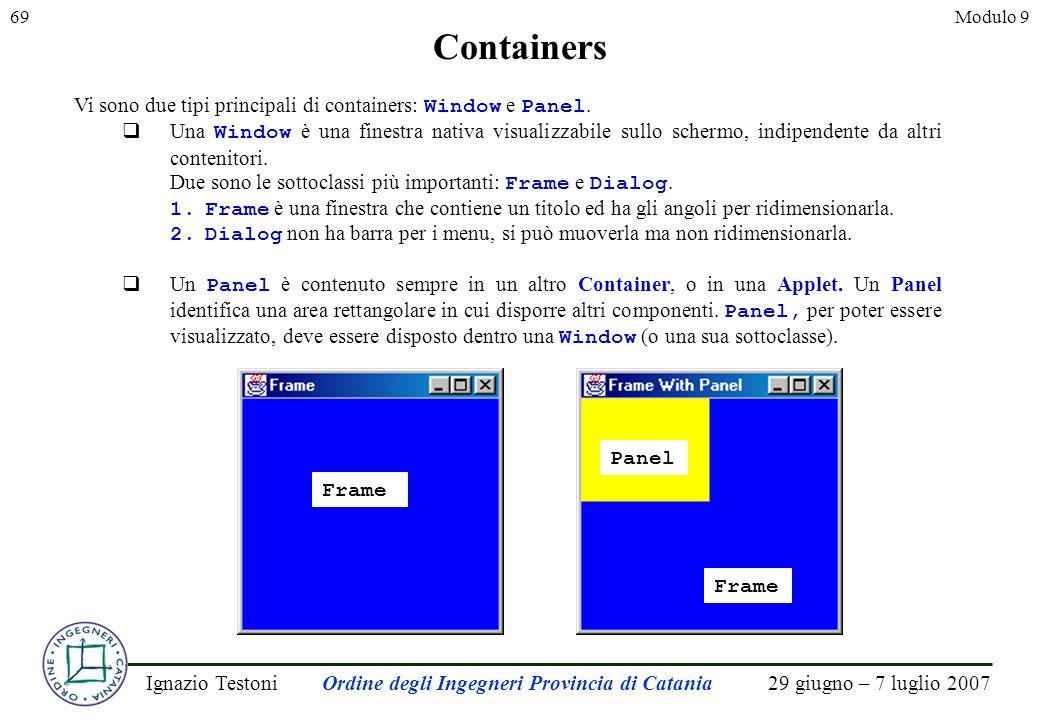 29 giugno – 7 luglio 2007Ignazio TestoniOrdine degli Ingegneri Provincia di Catania 69Modulo 9 Containers Vi sono due tipi principali di containers: Window e Panel.