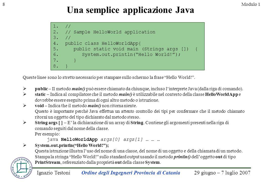 29 giugno – 7 luglio 2007Ignazio TestoniOrdine degli Ingegneri Provincia di Catania 8Modulo 1 Una semplice applicazione Java Queste linee sono lo stretto necessario per stampare sullo schermo la frase Hello World!.