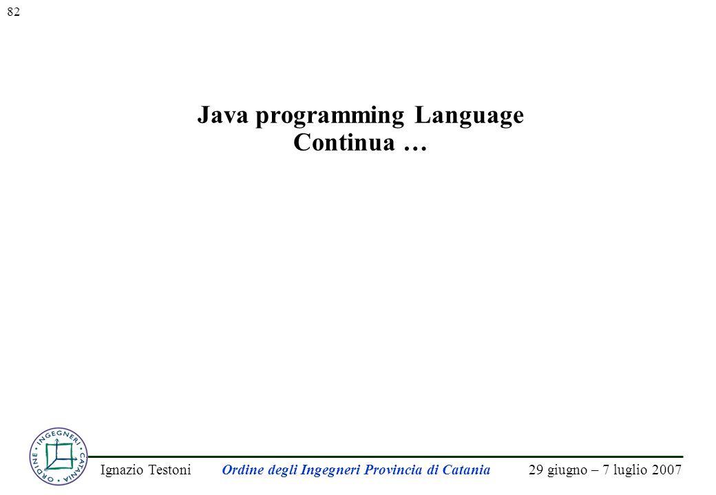 29 giugno – 7 luglio 2007Ignazio TestoniOrdine degli Ingegneri Provincia di Catania 82 Java programming Language Continua …