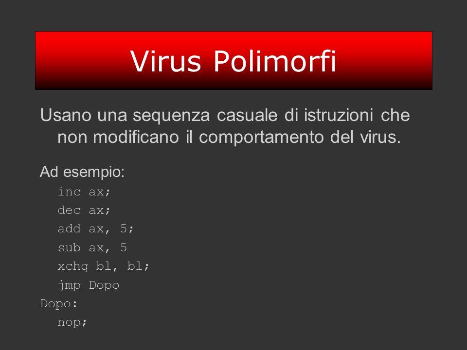 Virus Polimorfi Usano una sequenza casuale di istruzioni che non modificano il comportamento del virus. Ad esempio: inc ax; dec ax; add ax, 5; sub ax,