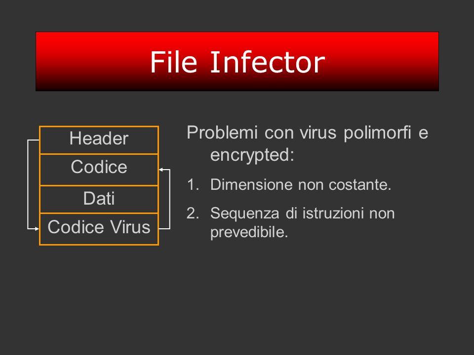 File Infector Header Dati Codice Codice Virus Problemi con virus polimorfi e encrypted: 1.Dimensione non costante. 2.Sequenza di istruzioni non preved