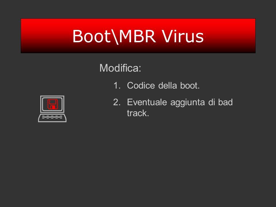 Boot\MBR Virus Modifica: 1.Codice della boot. 2.Eventuale aggiunta di bad track.