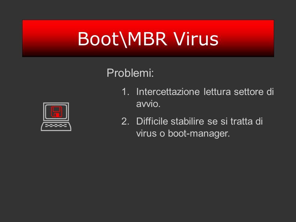 Boot\MBR Virus Problemi: 1.Intercettazione lettura settore di avvio. 2.Difficile stabilire se si tratta di virus o boot-manager.