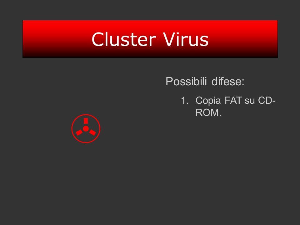 Cluster Virus Possibili difese: 1.Copia FAT su CD- ROM.