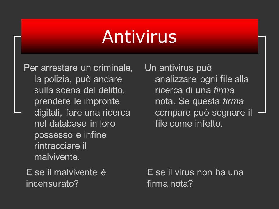 Antivirus Per arrestare un criminale, la polizia, può andare sulla scena del delitto, prendere le impronte digitali, fare una ricerca nel database in