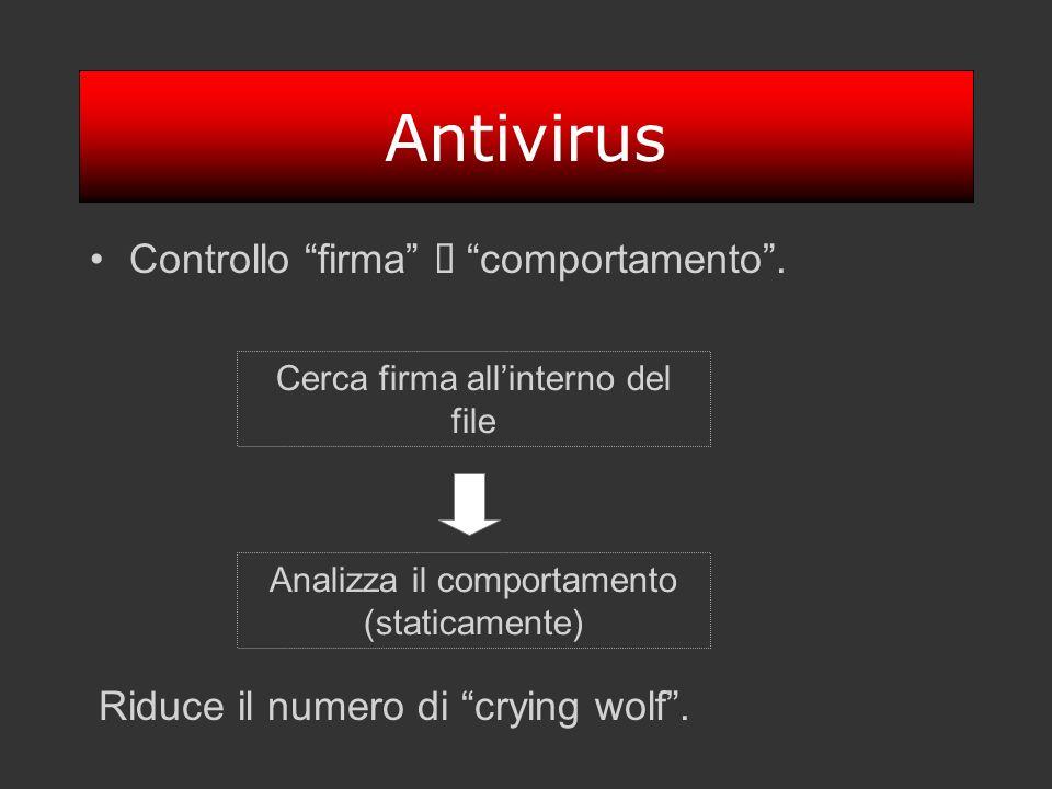 Antivirus Controllo firma comportamento. Cerca firma allinterno del file Analizza il comportamento (staticamente) Riduce il numero di crying wolf.