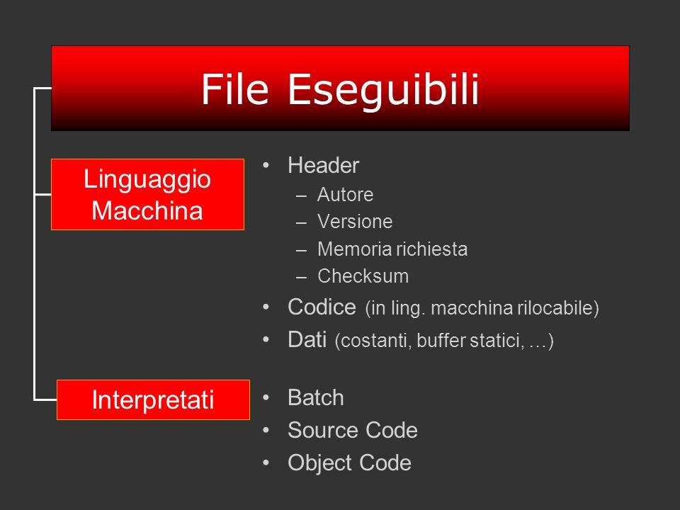 File Eseguibili Header –Autore –Versione –Memoria richiesta –Checksum Codice (in ling. macchina rilocabile) Dati (costanti, buffer statici, …) Batch S