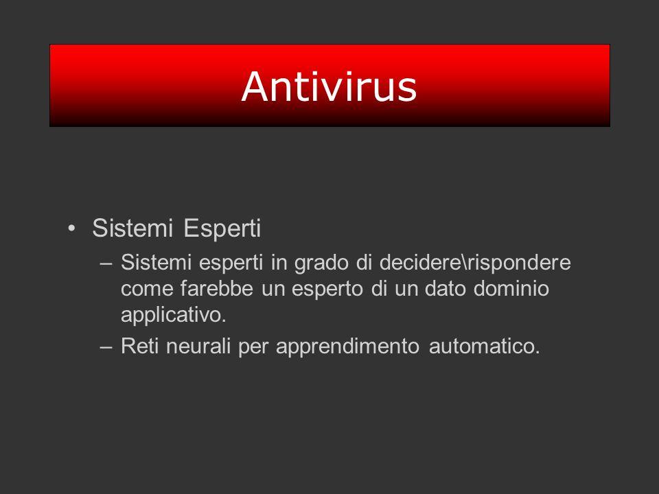 Antivirus Sistemi Esperti –Sistemi esperti in grado di decidere\rispondere come farebbe un esperto di un dato dominio applicativo. –Reti neurali per a