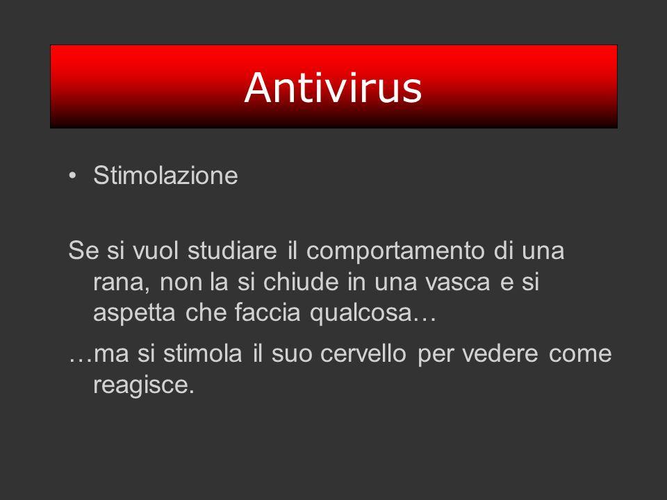 Antivirus Stimolazione Se si vuol studiare il comportamento di una rana, non la si chiude in una vasca e si aspetta che faccia qualcosa… …ma si stimol
