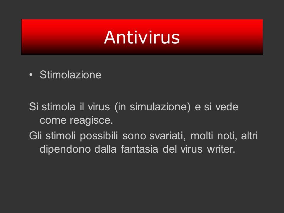 Antivirus Stimolazione Si stimola il virus (in simulazione) e si vede come reagisce. Gli stimoli possibili sono svariati, molti noti, altri dipendono