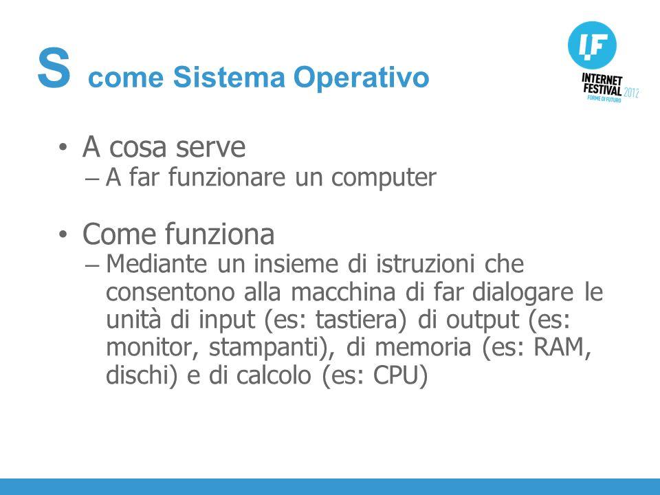 INTRODUZIONE A cosa serve – A far funzionare un computer Come funziona – Mediante un insieme di istruzioni che consentono alla macchina di far dialogare le unità di input (es: tastiera) di output (es: monitor, stampanti), di memoria (es: RAM, dischi) e di calcolo (es: CPU) S come Sistema Operativo