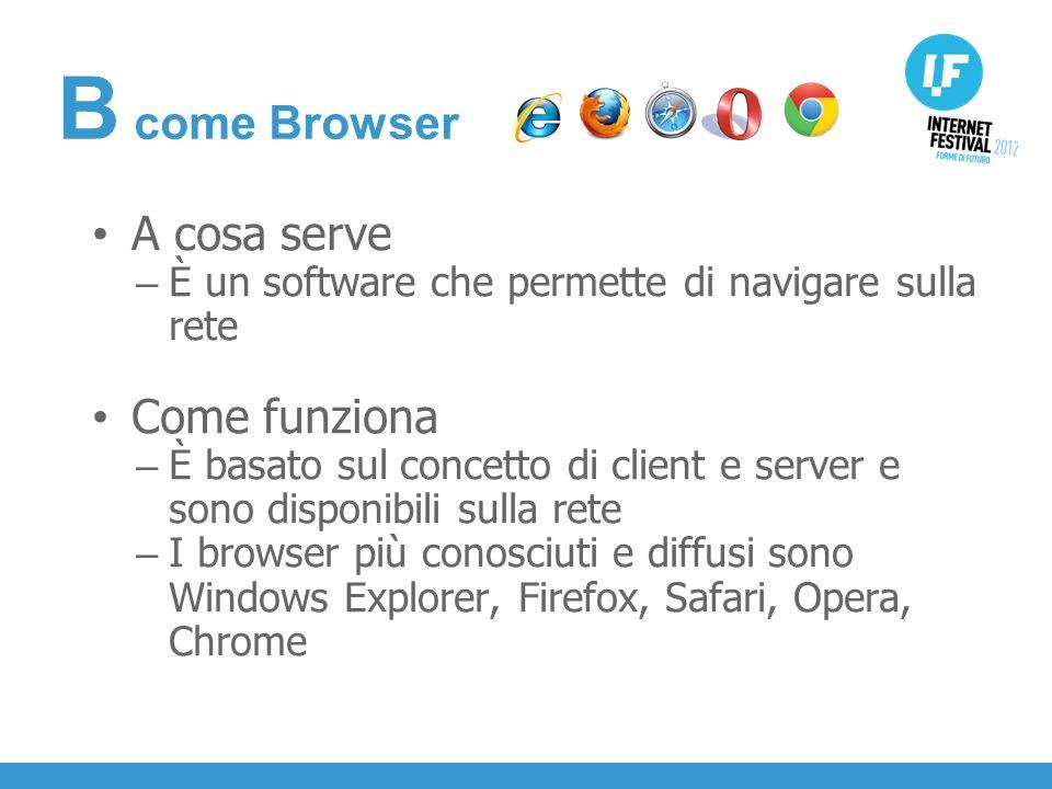 INTRODUZIONE A cosa serve – È un software che permette di navigare sulla rete Come funziona – È basato sul concetto di client e server e sono disponibili sulla rete – I browser più conosciuti e diffusi sono Windows Explorer, Firefox, Safari, Opera, Chrome B come Browser