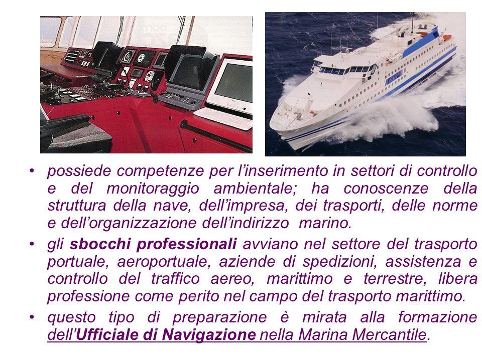 Le materie specifiche di indirizzo sono : Diritto Struttura della nave Economia dei trasporti Navigazione Meteorologia Teoria e Tecnica dei trasporti marittimi Elettrotecnica ed elettronica Controlli ed automazione