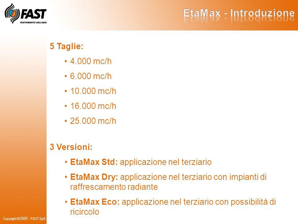 Copyright © 2009 - FAST SpA 5 Taglie: 4.000 mc/h 6.000 mc/h 10.000 mc/h 16.000 mc/h 25.000 mc/h 3 Versioni: EtaMax Std: applicazione nel terziario Eta