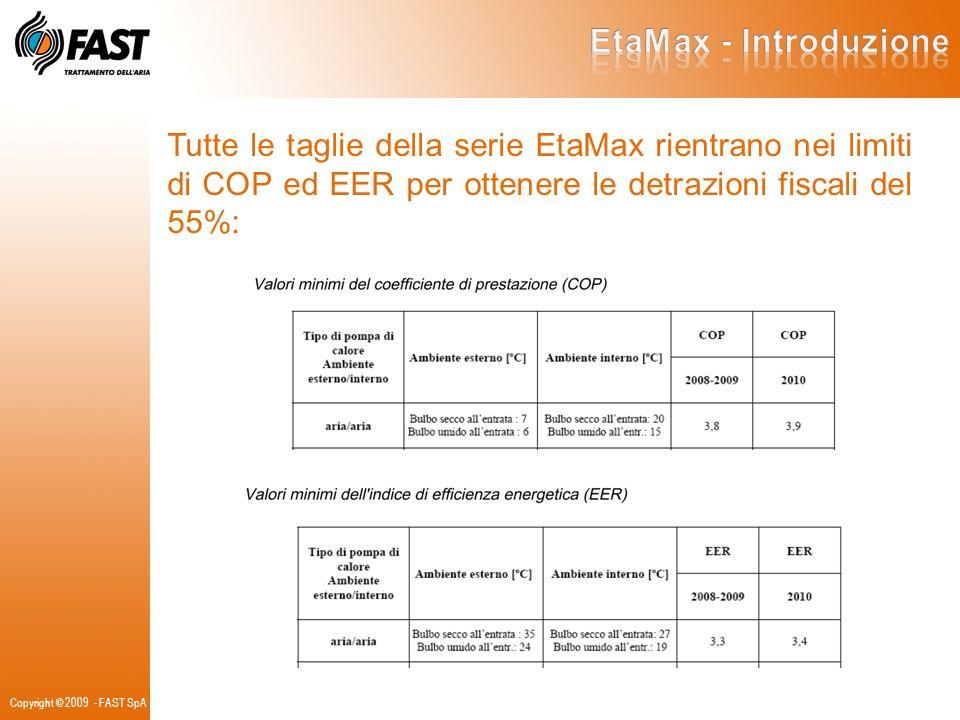 Tutte le taglie della serie EtaMax rientrano nei limiti di COP ed EER per ottenere le detrazioni fiscali del 55%: