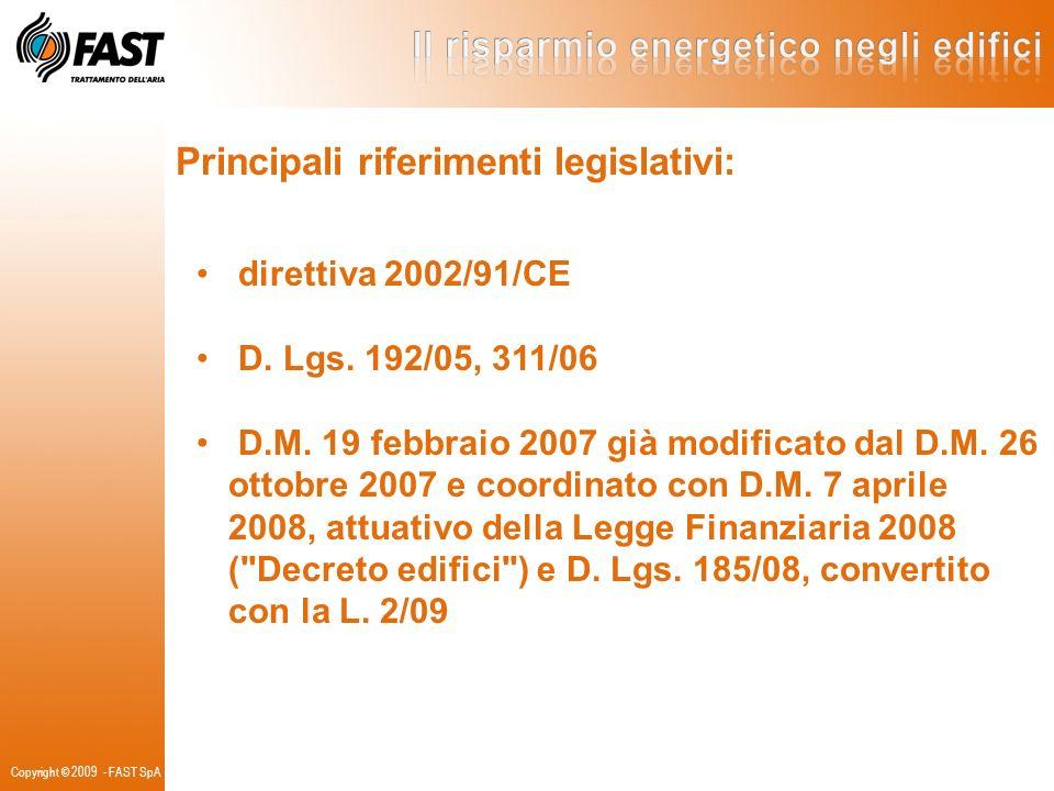 Principali riferimenti legislativi: direttiva 2002/91/CE D. Lgs. 192/05, 311/06 D.M. 19 febbraio 2007 già modificato dal D.M. 26 ottobre 2007 e coordi