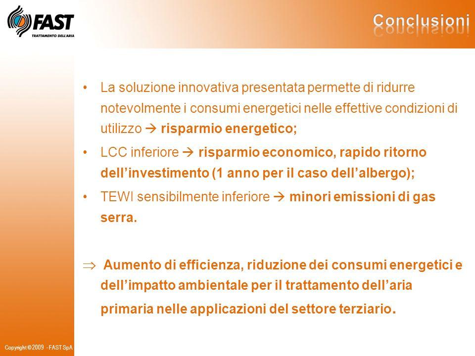Copyright © 2009 - FAST SpA La soluzione innovativa presentata permette di ridurre notevolmente i consumi energetici nelle effettive condizioni di uti