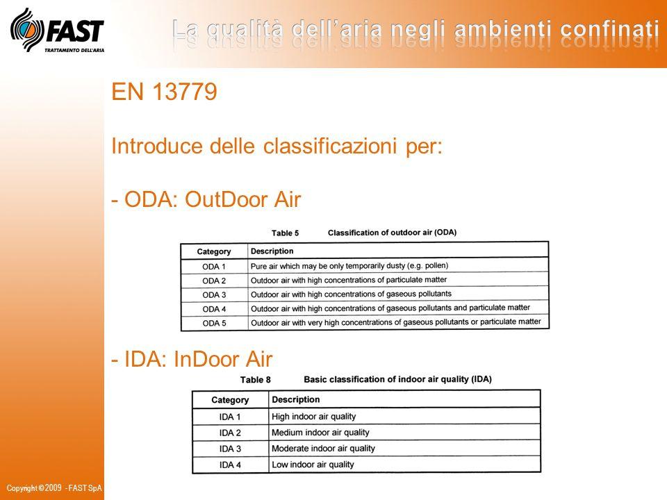 EN 13779 Introduce delle classificazioni per: - ODA: OutDoor Air - IDA: InDoor Air Copyright © 2009 - FAST SpA