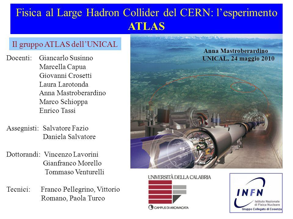 Fisica al Large Hadron Collider del CERN: lesperimento ATLAS Docenti: Giancarlo Susinno Marcella Capua Giovanni Crosetti Laura Larotonda Anna Mastrobe
