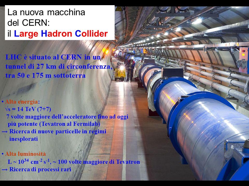 La nuova macchina del CERN: il Large Hadron Collider LHC è situato al CERN in un tunnel di 27 km di circonferenza, tra 50 e 175 m sottoterra Alta ener