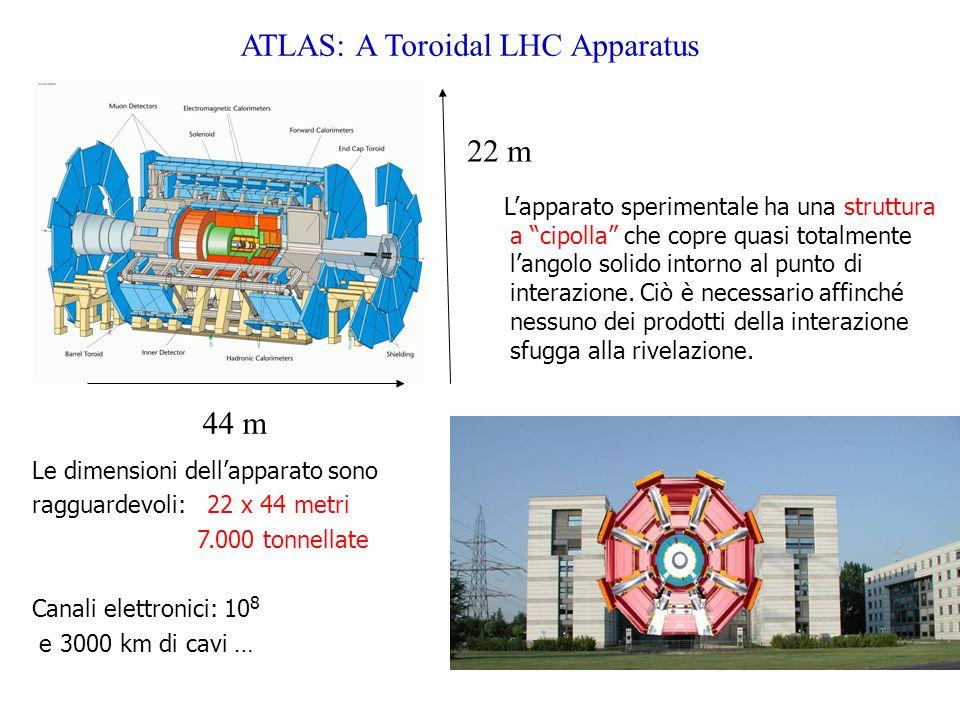 ATLAS: A Toroidal LHC Apparatus Lapparato sperimentale ha una struttura a cipolla che copre quasi totalmente langolo solido intorno al punto di intera