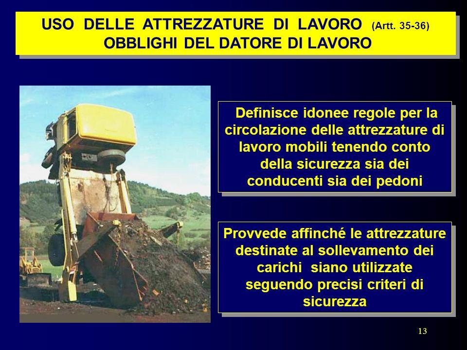 13 Provvede affinché le attrezzature destinate al sollevamento dei carichi siano utilizzate seguendo precisi criteri di sicurezza Definisce idonee reg