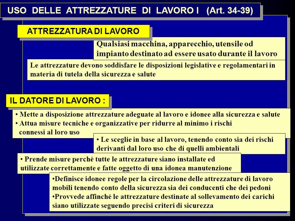 8 USO DELLE ATTREZZATURE DI LAVORO I (Art. 34-39) Mette a disposizione attrezzature adeguate al lavoro e idonee alla sicurezza e salute Attua misure t