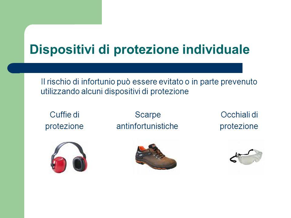 Dispositivi di protezione individuale Il rischio di infortunio può essere evitato o in parte prevenuto utilizzando alcuni dispositivi di protezione Cu