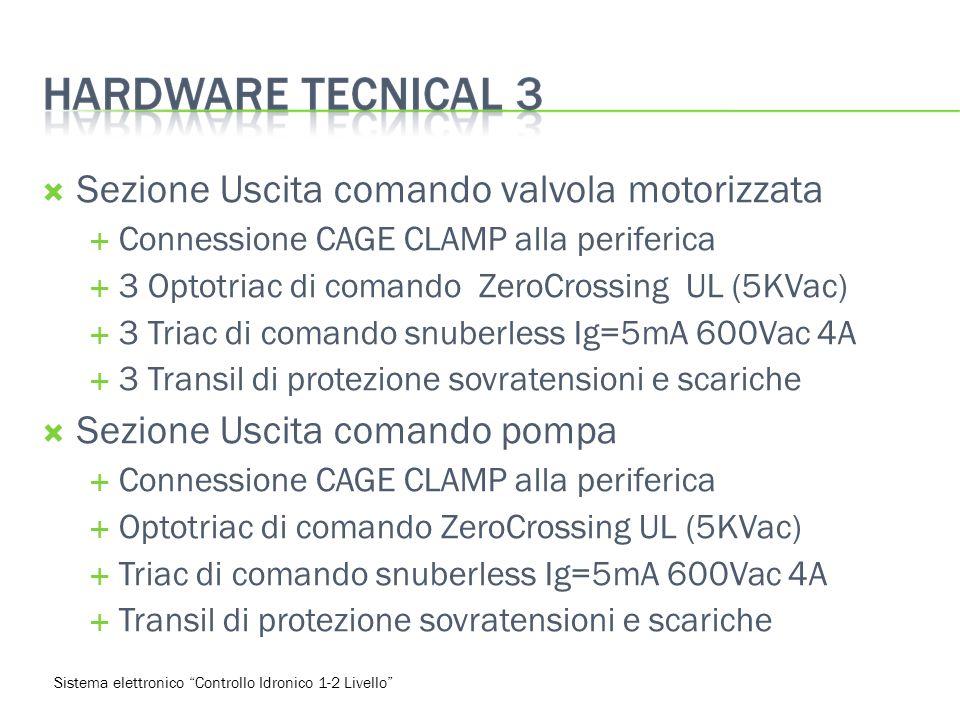 Sezione Uscita comando valvola motorizzata Connessione CAGE CLAMP alla periferica 3 Optotriac di comando ZeroCrossing UL (5KVac) 3 Triac di comando snuberless Ig=5mA 600Vac 4A 3 Transil di protezione sovratensioni e scariche Sezione Uscita comando pompa Connessione CAGE CLAMP alla periferica Optotriac di comando ZeroCrossing UL (5KVac) Triac di comando snuberless Ig=5mA 600Vac 4A Transil di protezione sovratensioni e scariche Sistema elettronico Controllo Idronico 1-2 Livello