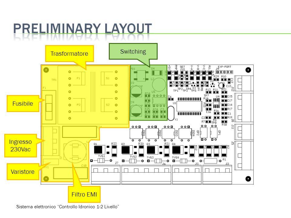 Sistema elettronico Controllo Idronico 1-2 Livello Trasformatore Fusibile Ingresso 230Vac Varistore Filtro EMI Switching