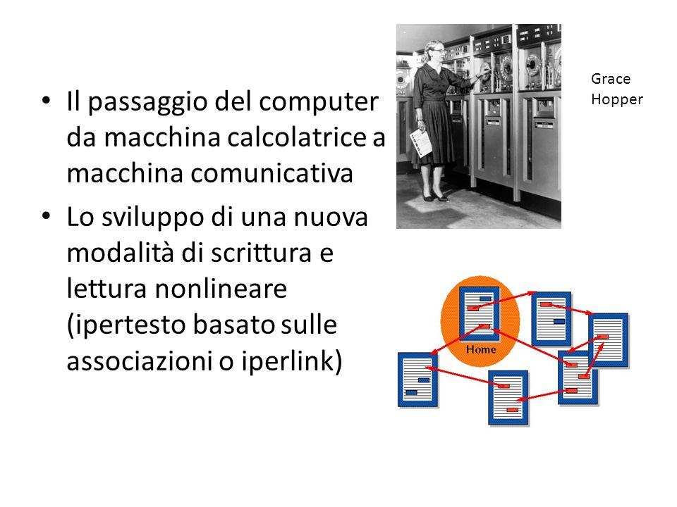 Il passaggio del computer da macchina calcolatrice a macchina comunicativa Lo sviluppo di una nuova modalità di scrittura e lettura nonlineare (ipertesto basato sulle associazioni o iperlink) Grace Hopper