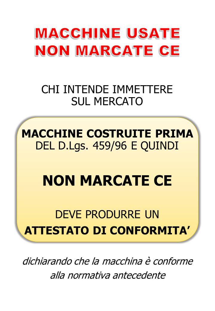 CHI INTENDE IMMETTERE SUL MERCATO MACCHINE COSTRUITE PRIMA DEL D.Lgs.