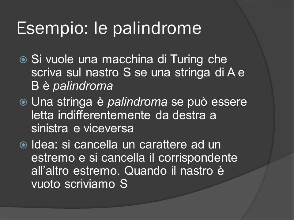 Esempio: le palindrome Si vuole una macchina di Turing che scriva sul nastro S se una stringa di A e B è palindroma Una stringa è palindroma se può es
