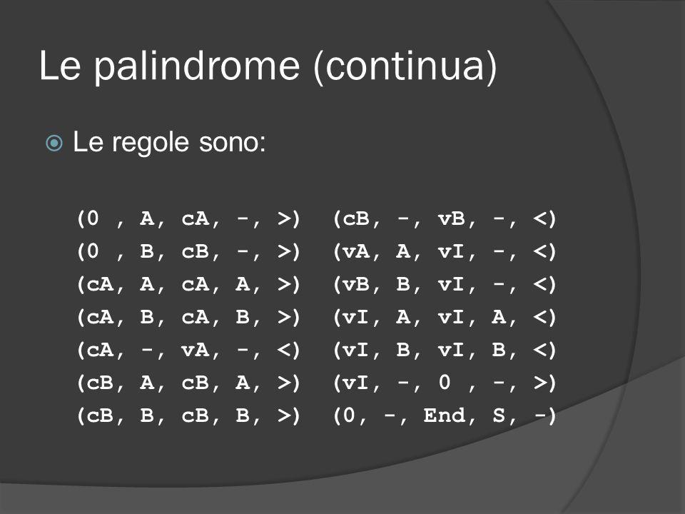 Le palindrome (continua) Le regole sono: (0, A, cA, -, >) (cB, -, vB, -, <) (0, B, cB, -, >) (vA, A, vI, -, <) (cA, A, cA, A, >) (vB, B, vI, -, <) (cA