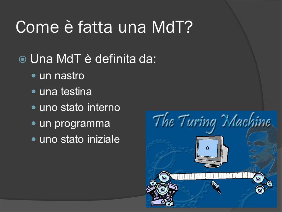 Come è fatta una MdT? Una MdT è definita da: un nastro una testina uno stato interno un programma uno stato iniziale