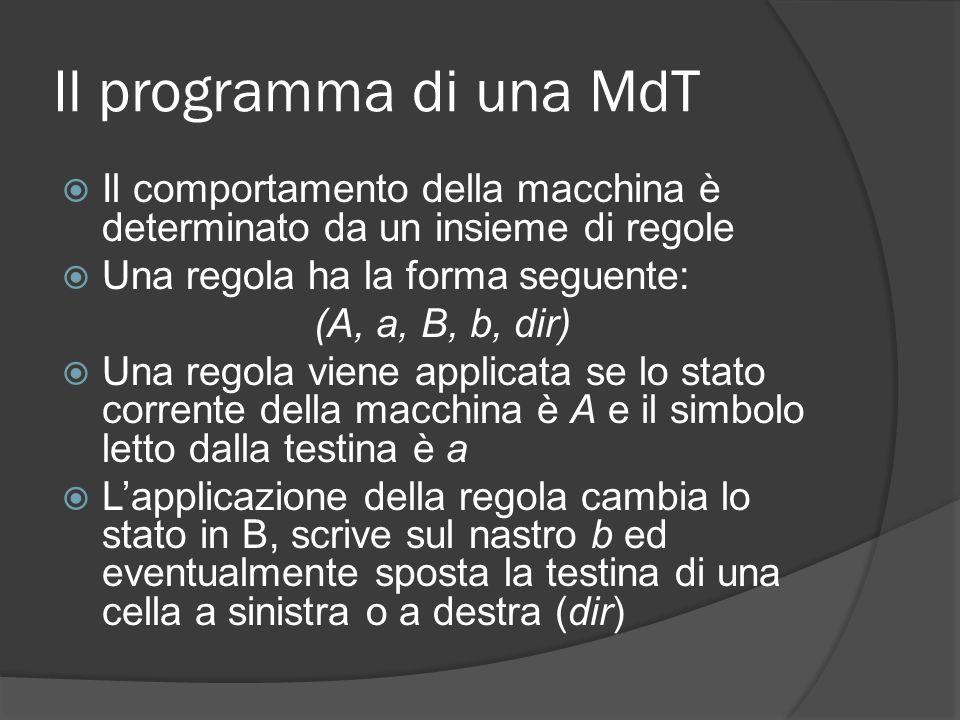 Il programma di una MdT Il comportamento della macchina è determinato da un insieme di regole Una regola ha la forma seguente: (A, a, B, b, dir) Una r