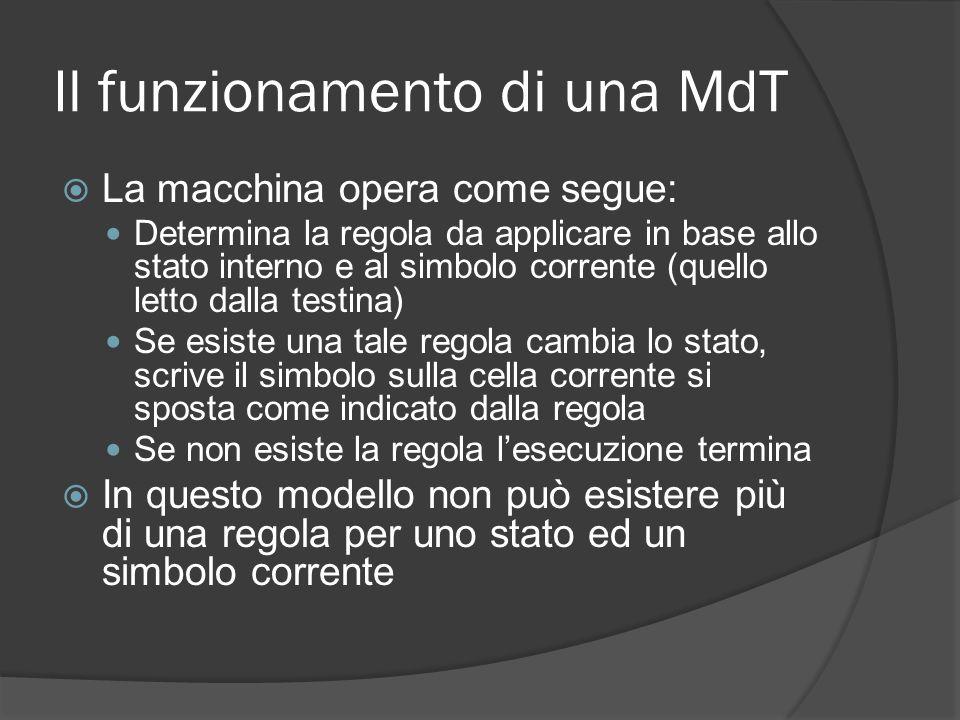 Il funzionamento di una MdT La macchina opera come segue: Determina la regola da applicare in base allo stato interno e al simbolo corrente (quello le