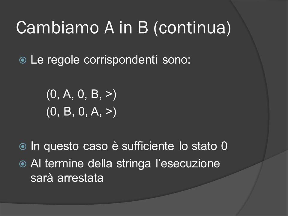 Esempio: le palindrome Si vuole una macchina di Turing che scriva sul nastro S se una stringa di A e B è palindroma Una stringa è palindroma se può essere letta indifferentemente da destra a sinistra e viceversa Idea: si cancella un carattere ad un estremo e si cancella il corrispondente allaltro estremo.