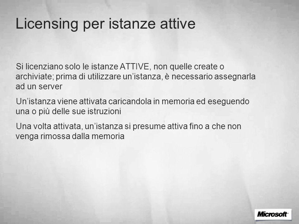 Licensing per istanze attive Si licenziano solo le istanze ATTIVE, non quelle create o archiviate; prima di utilizzare unistanza, è necessario assegna