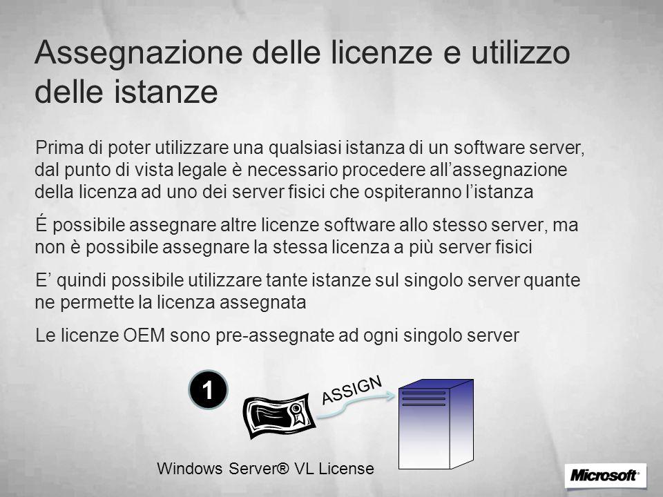Assegnazione delle licenze e utilizzo delle istanze Prima di poter utilizzare una qualsiasi istanza di un software server, dal punto di vista legale è