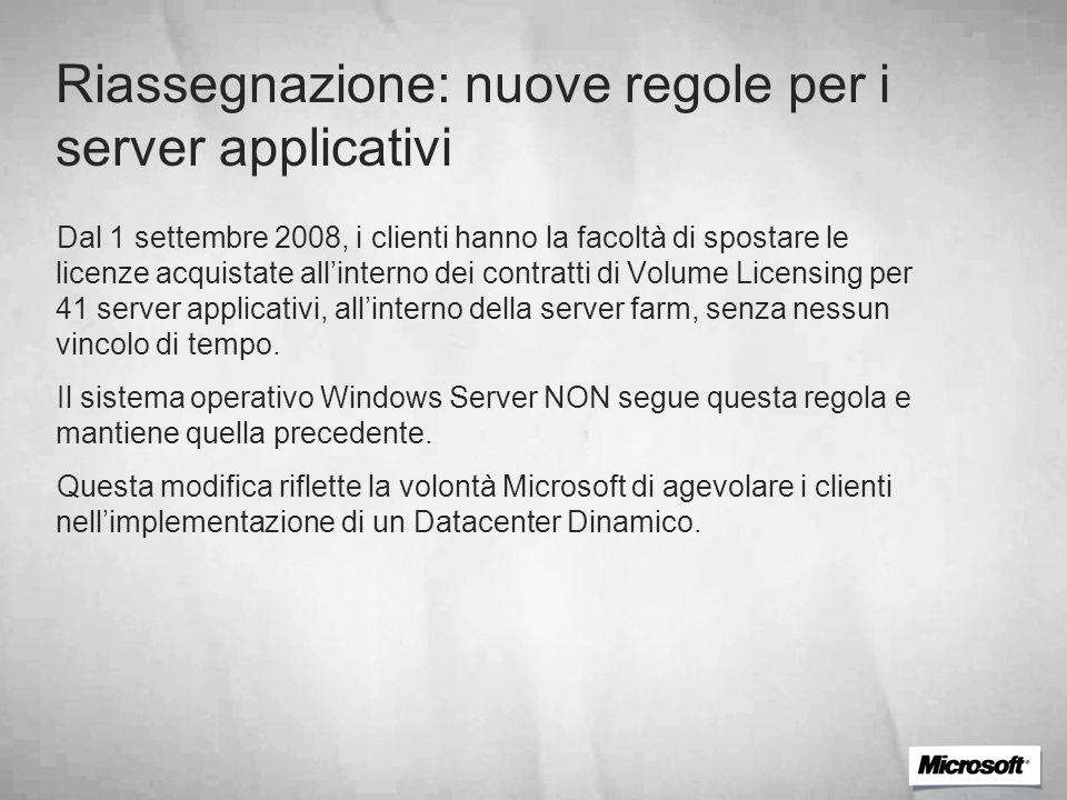 Riassegnazione: nuove regole per i server applicativi Dal 1 settembre 2008, i clienti hanno la facoltà di spostare le licenze acquistate allinterno de