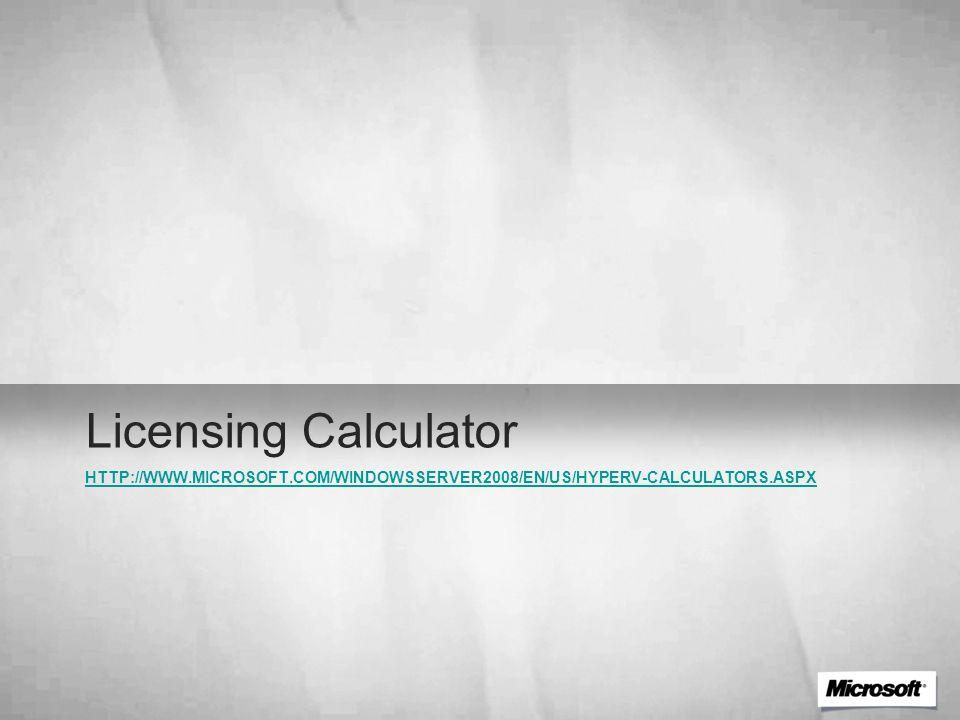 HTTP://WWW.MICROSOFT.COM/WINDOWSSERVER2008/EN/US/HYPERV-CALCULATORS.ASPX Licensing Calculator